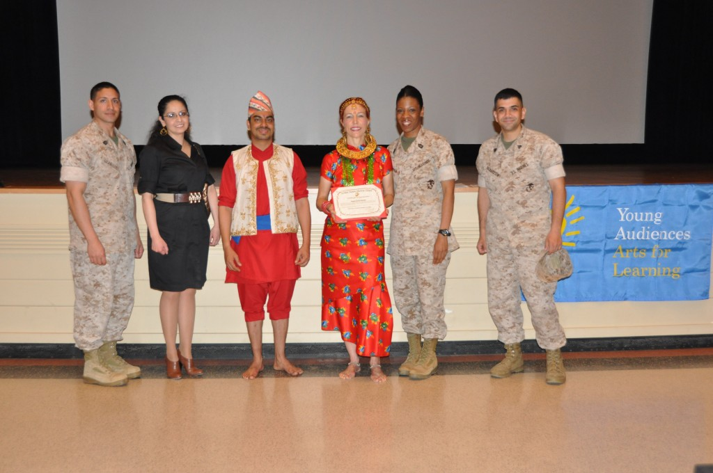 Nepal Dance School being presented with a Certificate of Appreciation by the U.S. Marine Corp.