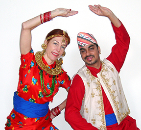 Cordula Sturm and Anil Dahal posing